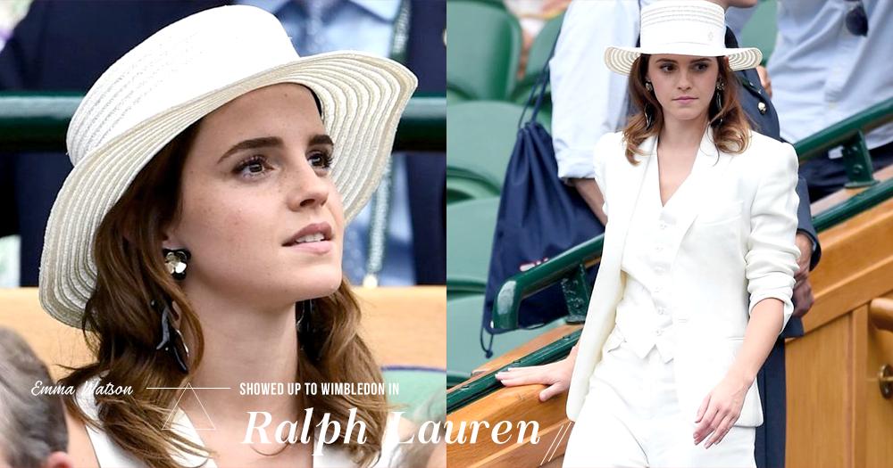 「獨立的女人最有魅力」Emma Watson 以一身帥氣的 Ralph Lauren 西裝出席溫布頓網球賽!