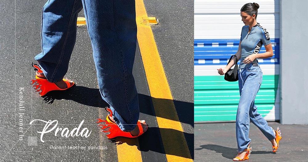 別以為這雙火焰鞋很難駕馭,超模Kendall Jenner以休閒造型配出最酷的氣場!