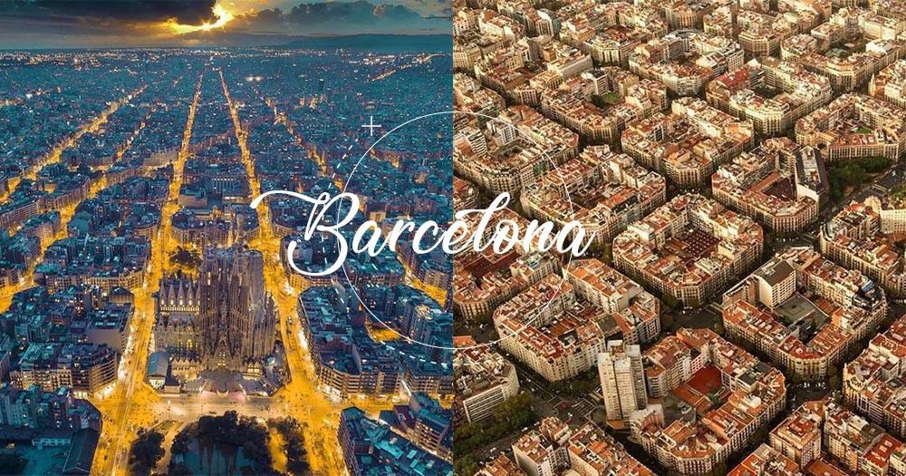 從航拍中俯瞰會發現它精心的城市規劃,巴塞羅拿原來長這樣子的,就好像豆腐磚塊拼圖!