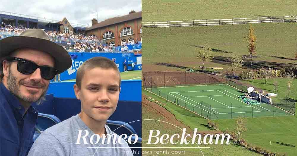 有夠瘋狂嗎?David Beckham夫婦為培養兒子Romeo的興趣,竟在家中建起網球場!