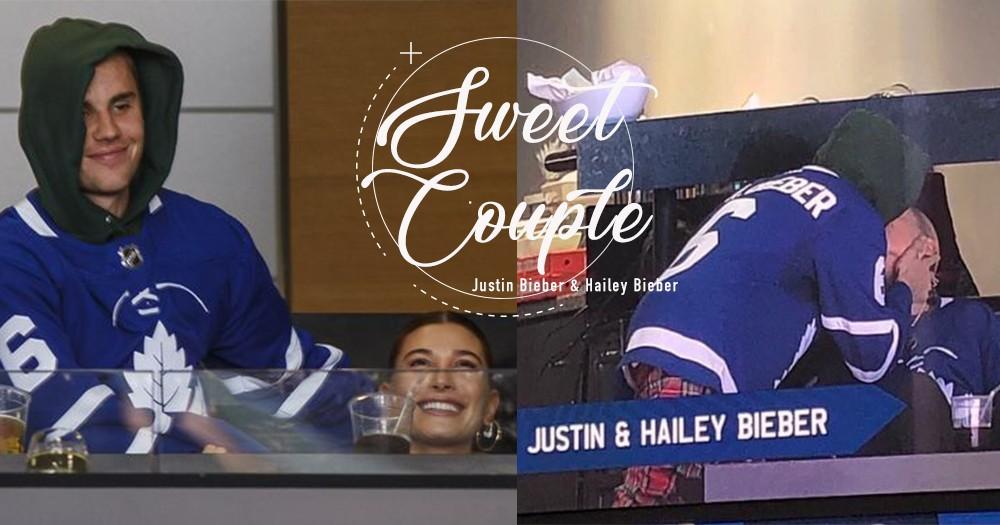把NBA的kissing camera搬至冰球場!Justin Bieber帶太太Hailey到家鄉觀賞球賽,不避諱當住鏡頭擁吻妻子!