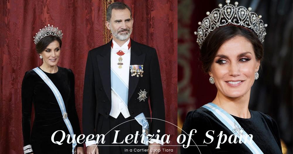 西班牙皇后Letizia陪同國王接待國家主席習近平夫婦,但眾人焦點卻只放在她的Cartier皇冠之上!