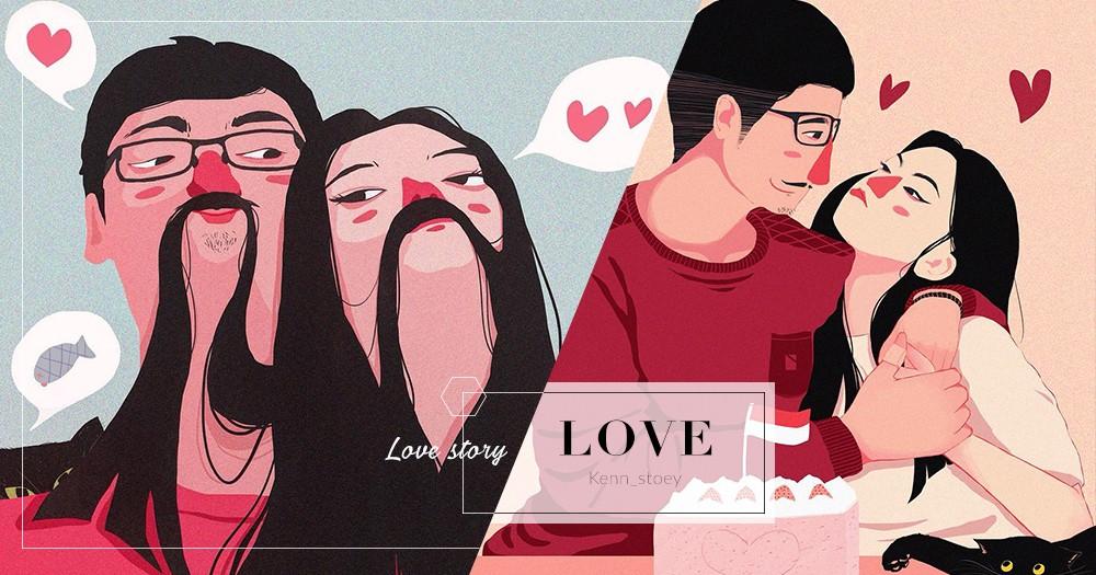 「只要你一個擁抱,我就擁有全世界」插畫師把情侶互相陪伴一刻,畫出平淡甜蜜滋味!