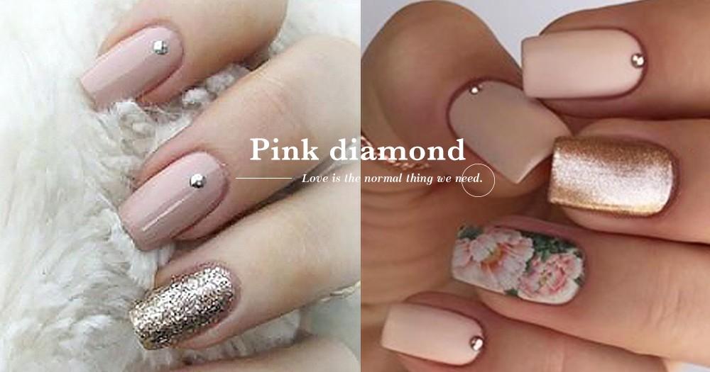 粉色系總無法抗拒「粉紅小鑽點綴指甲」自帶輕熟感、顯高貴氣質!