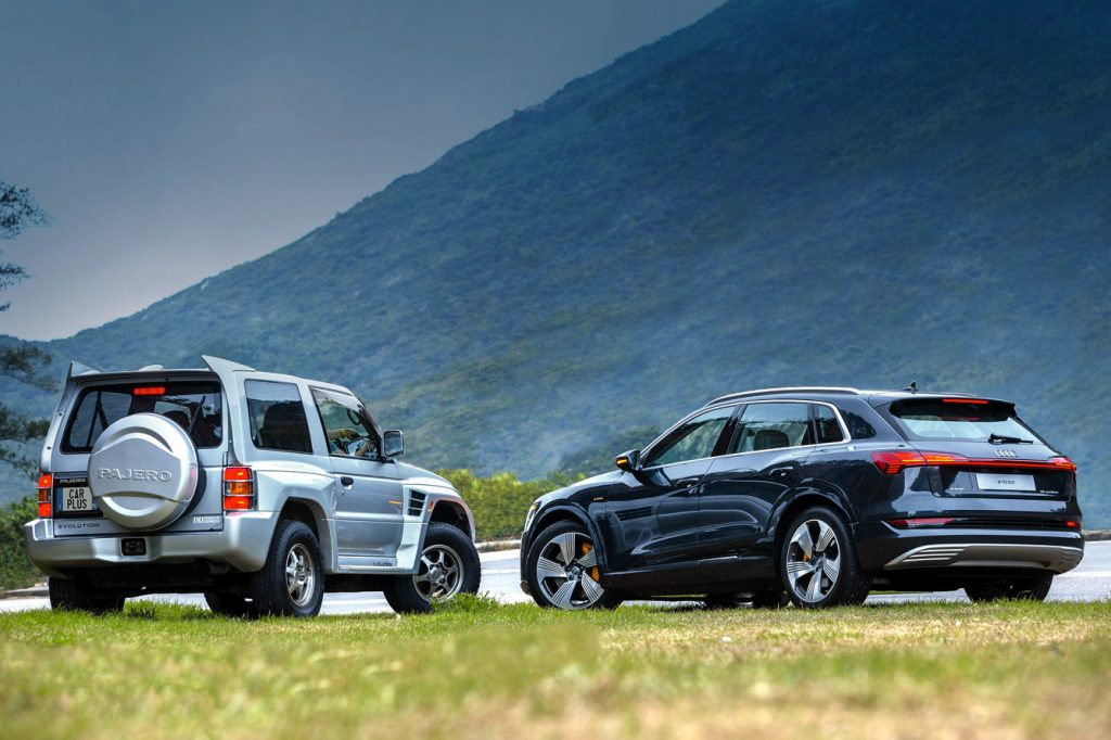 Audi e-tron 55 quattro, Audi, Audi e-tron, Mitsubishi Pajero Evolution, Mitsubishi, Mitsubishi Pajero,