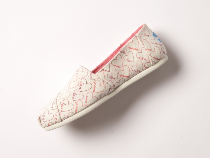 TOMS Pink Love Languages Women's Classics Angle 3