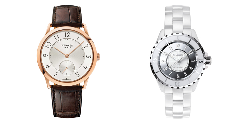 The Slim d'Hermes in rose gold and alligator leather by Hermes & the J12 Collector Mirror in white high-tech ceramic and steel by Chanel