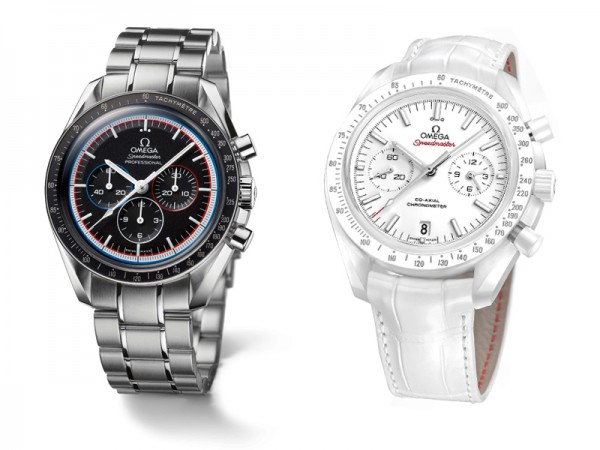 """The """"Speedmaster Moonwatch Apollo 15 40th Anniversary Limited Edition"""" in steel and """"Speedmaster White Side of the Moon Co-axial Chronometer"""" in ceramic with alligator strap"""