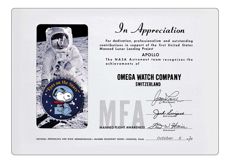 The prestigious Snoopy award was presented to Omega by NASA after the Speedmaster played a pivotal role in helping astronauts of the Apollo 13 mission return back to earth.