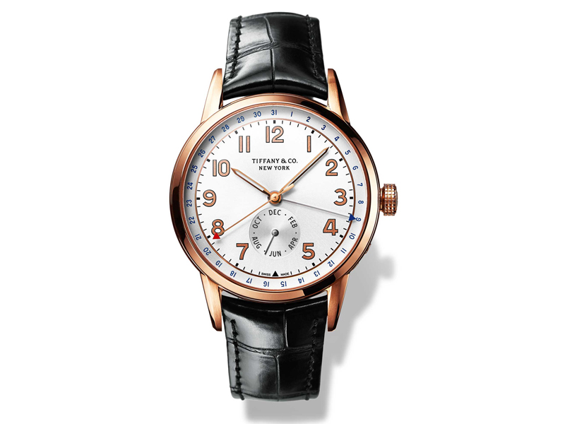"""""""Tiffany CT60 Calendar"""" in 18K rose gold with alligator strap by Tiffany & Co."""