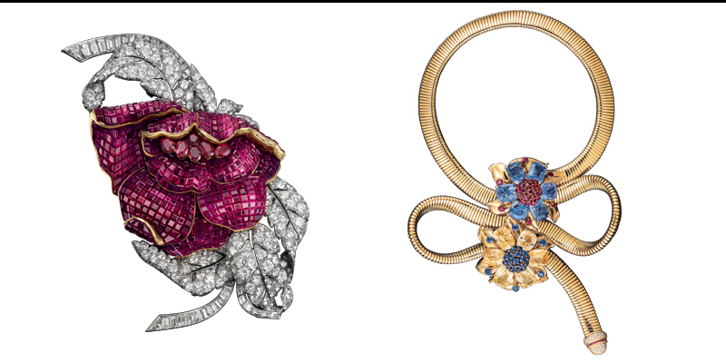 Peony gold and platinum clip with Mystery Set rubies and diamonds; Passe-Partout gold necklace with sapphires, rubies and diamonds.