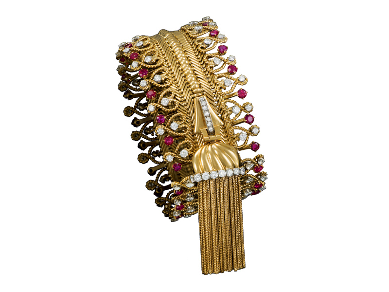 Zip platinum and gold bracelet with rubies and diamonds.
