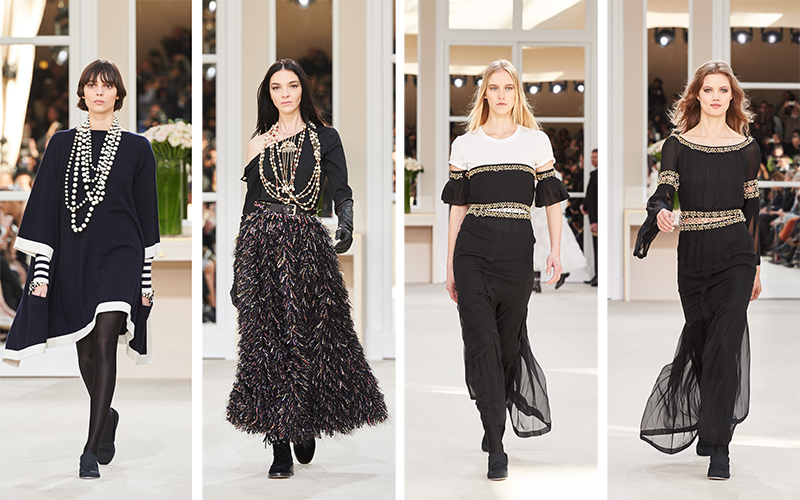 Chanel Fall/Winter 2016. From left: Looks 61, 79, 90 and 92