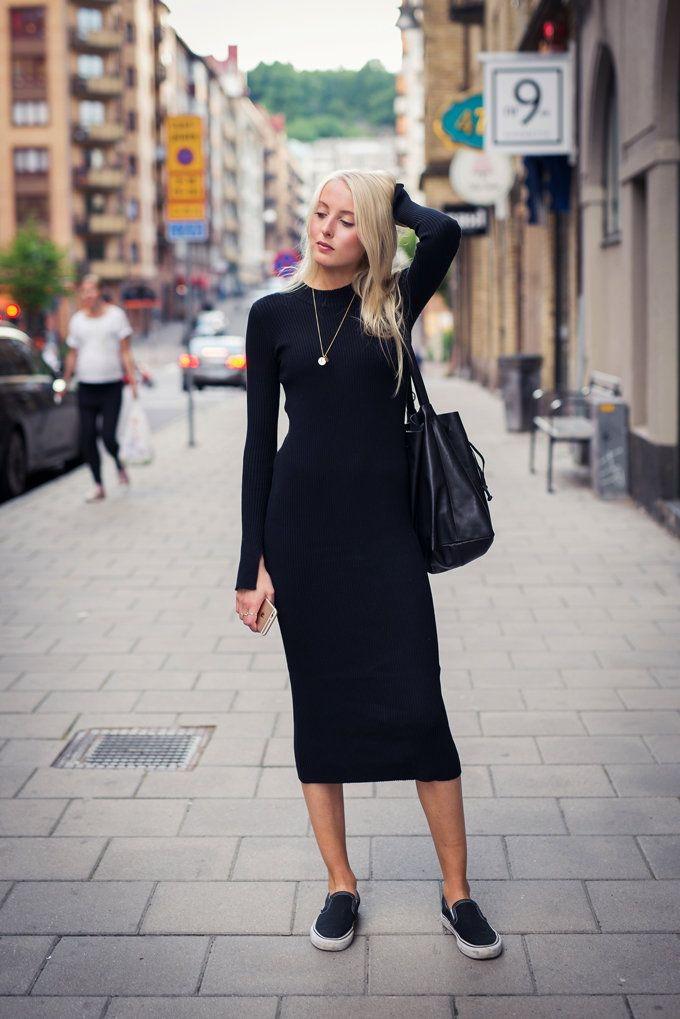 Обтягивающее трикотажное платье с чем носить