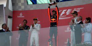 F1 Azerbaijan Grand Prix 2017: Daniel Ricciardo celebrates podium finish with Lance Stroll and Valtteri Bottas