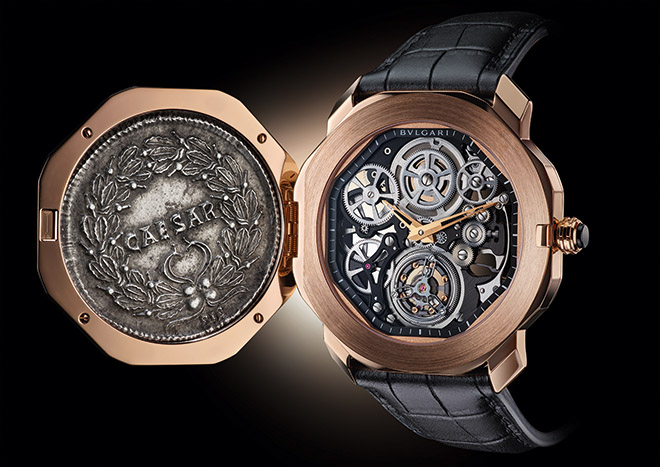 An ancient Roman coin bearing the visage of Constantine the Great covers the intricate mechanisms of Bulgari's contemporary fine watchmaking - here the Octo Finissimo Skeleton Flying Tourbillon