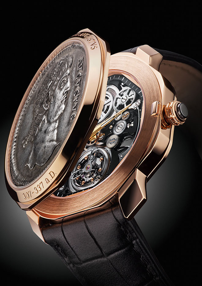 The new Bulgari Octo Finissimo Tourbillon Monete is covered by an ultra-rare 4th century Roman coin struck to mark the 20-year reign of Constantinus Augustus (307 to 337 AD).