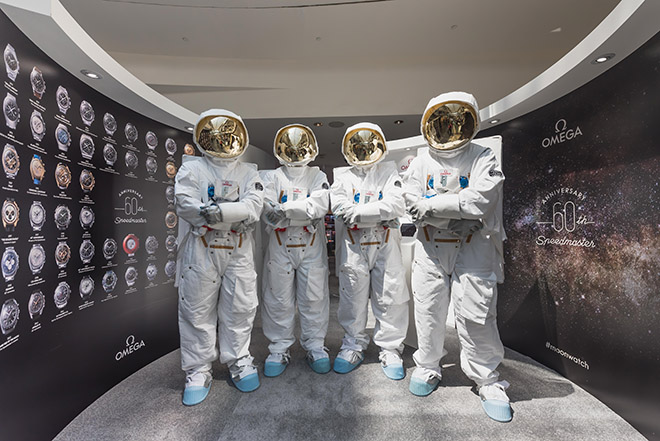 Spacemen assemble at an exhibition of vintage Speedmasters a walk down from the Omega Singapore boutique at Marina Bay Sands