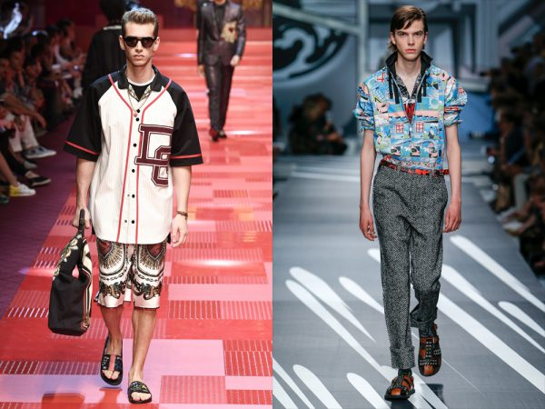 Left: Dolce & Gabbana menswear spring summer 2018. Right: Prada menswear Spring Summer 2018