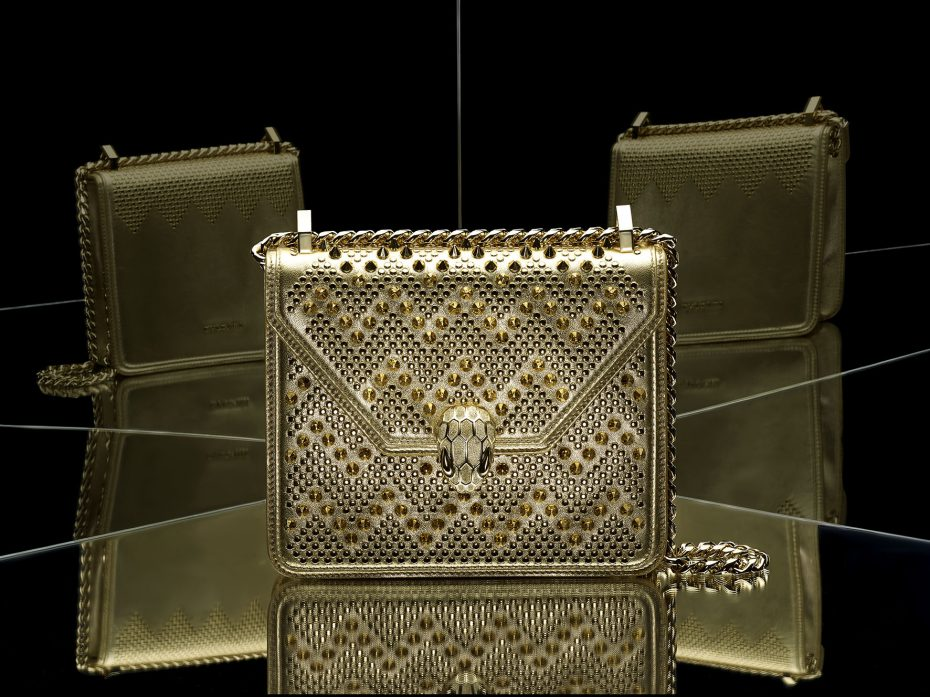 Serpenti Forever by Nicholas Kirkwood, Flap Cover, Stud Chevron Gold/Nappa Gold/