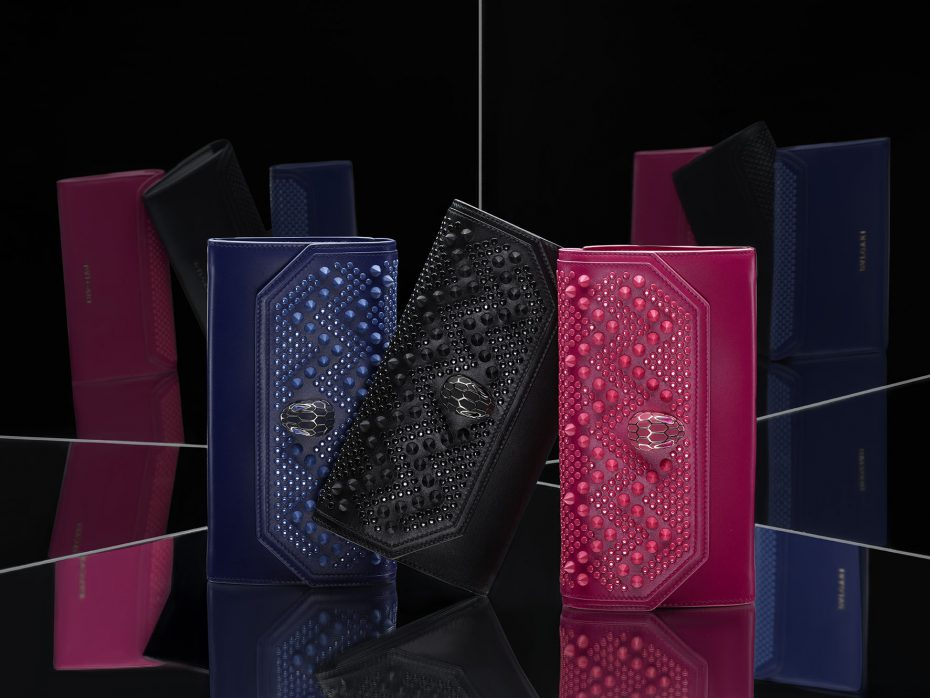 From left: Serpenti Forever by Nicholas Kirkwood, Wallet on chain, Stud Chevron Royal Sapphire/Calf leather Royal Sapphire; Wallets Continental, Serpenti Forever N.K., Stud Chevron black/Calf leather black/PVD Black, Lining 100% Nappa; Serpenti Forever Wallet on chain, Stud Chevron Pink Spinel/Calf leather Pink Spinel