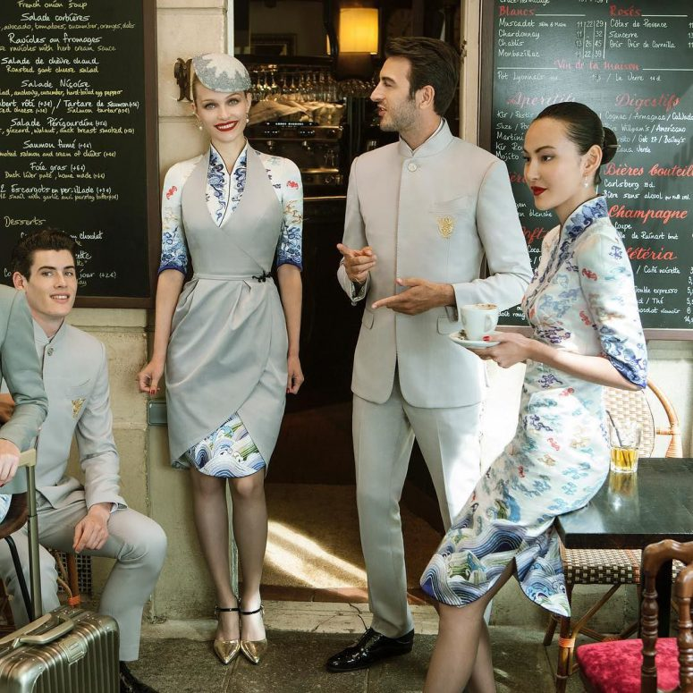 With the new Xu Paris Couture uniforms, Hainan Airlines scored a PR coup. Looks like the effort of going through more than 1000 design blueprints and trying out more than one hundred samples of garments and accessories have paid off.