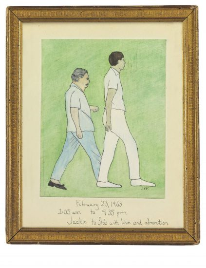 Jackie Kennedy made an original painting of Stas Radziwill and Chuck Spalding as a gift for Prince Radziwill in commemoration of the hike