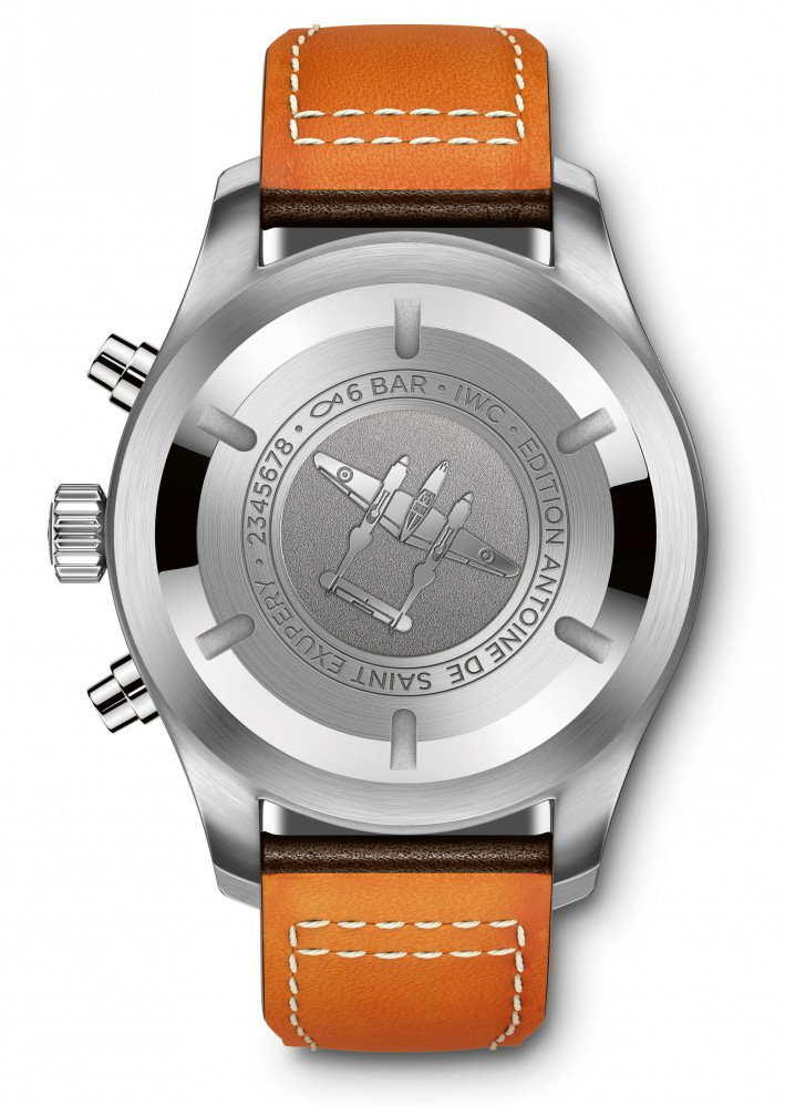 "Caseback of the 43mm IWC Pilot's Watch Chronograph Edition ""Antoine de Saint Exupéry"" (Ref. IW377713)"