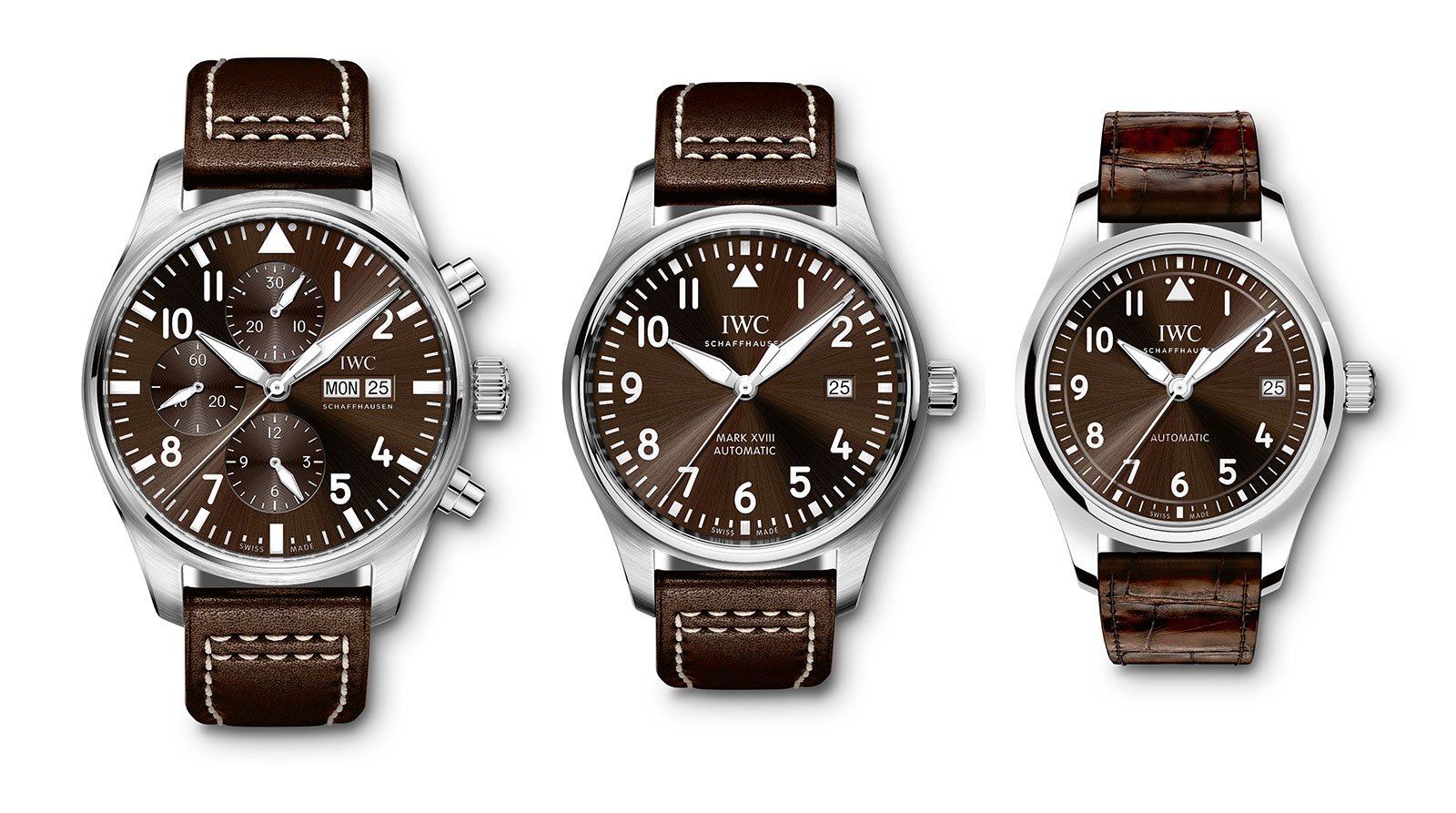 "Left to right: IWC Pilot's Watch Chronograph Edition ""Antoine de Saint Exupéry"" (Ref. IW377713), Pilot's Watch Mark XVIII Edition ""Antoine de Saint Exupéry"" (Ref. IW327003), IWC Pilot's Watch Automatic 36"