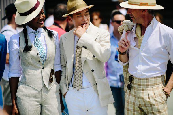 Khaki on cream on white. Pitti Uomo 92 by Adam Katz Sinding