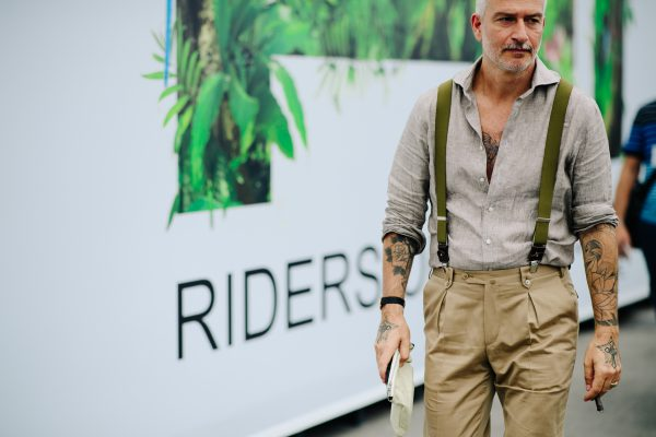 Stone on sand with contrast olive suspenders. Pitti Uomo 92 by Adam Katz Sinding