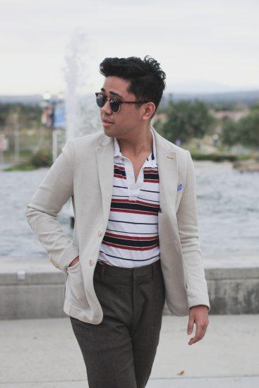 Polo shirt with linen blazer look executed by Street X Sprezza. Image: Street X Sprezza