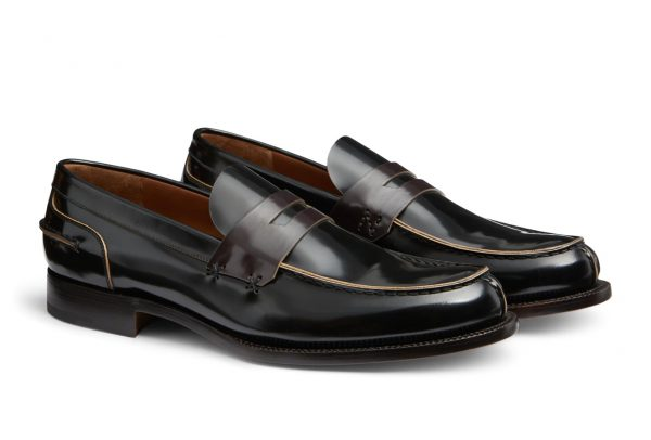 This Made in Italy, Dark brown Couture brushed-off calfskin leather loafer with deep burgundy leather band from Ermenegildo Zegna features Goodyear construction with cork insole for improved comfort