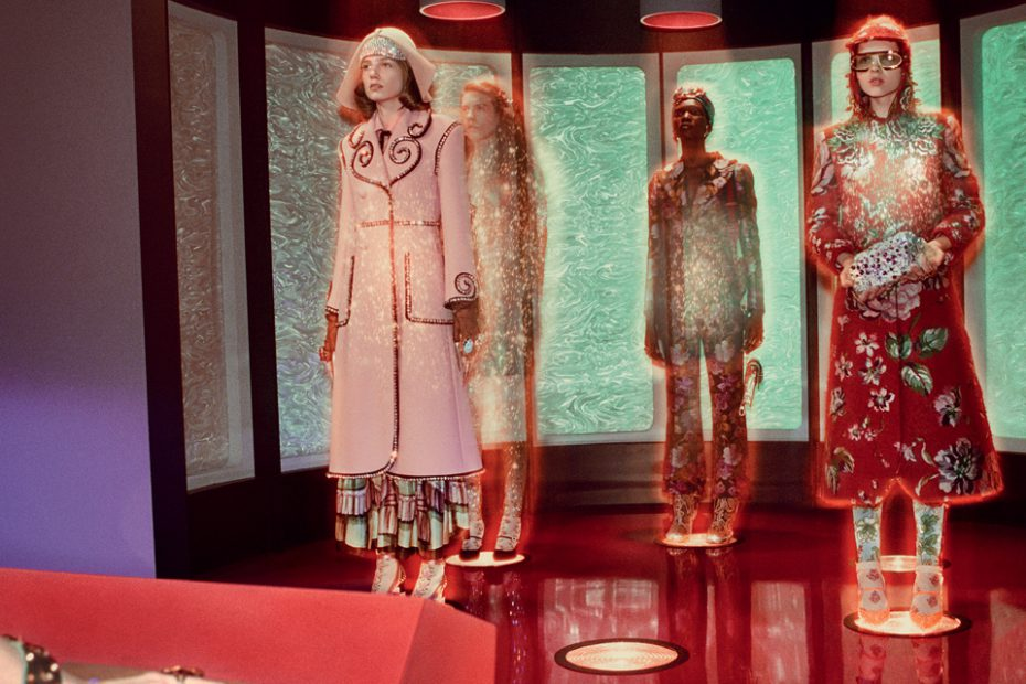 Gucci Fall 2017 campaign in the transporter room of the USS GucciandBeyond - TM & © 2017 CBS Studios Inc. STAR TREK and related marks are properties owned by CBS Studios Inc. All Rights Reserved.