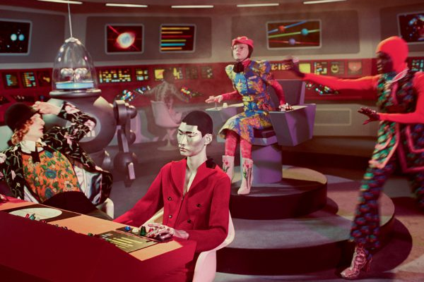 Gucci Fall 2017 campaign takes us to the bridge of the USS GucciandBeyond where thankfully, humanity dresses in more than just a one-piece jump suit with boots - Gucci Fall 2017 campaign in the transporter room of the USS GucciandBeyond - TM & © 2017 CBS Studios Inc. STAR TREK and related marks are properties owned by CBS Studios Inc. All Rights Reserved.