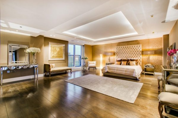 Master's room of the exclusive five bedroom penthouse at 375 Kensington High Street