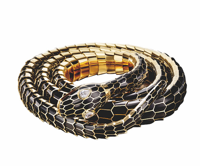 serpenti belt in gold with black enamel and diamonds bulgari heritage collection