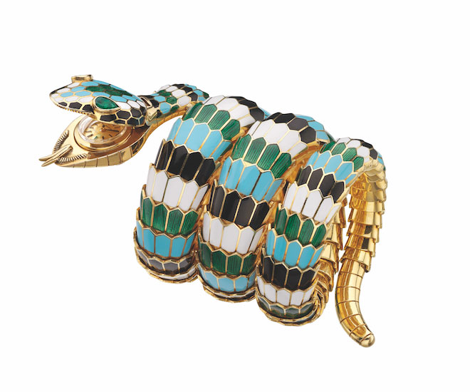 serpenti in gold with polychrome enamel and emeralds bulgari heritage
