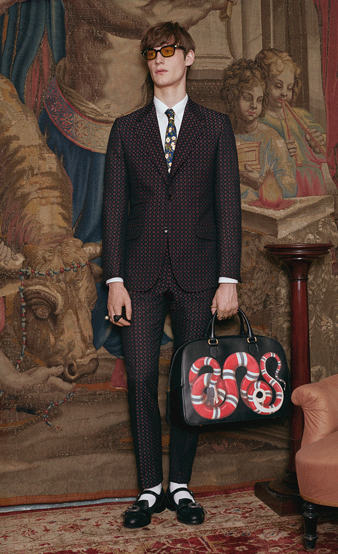 Classic Men's Style and the New Rules of Classic Elegance - The Gucci Heritage jacquard suit from Gucci pre-fall 2017 is not quite your stuffy old suit but with traditional, tightly packed motifs, it bears a tonal quality approaching what one might wear classically 'cept that it's not. I'd advise on a different pair of shoes though