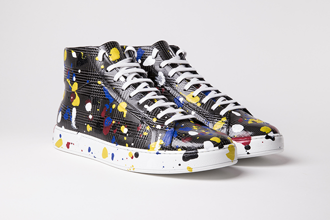 Following the same colour palette of the previous ensemble, I would suggest this pair of Dior Homme ankle sneakers by Kris Van Asche from the Spring 2017 collection - Prince of Wales check embossed grey leather covered with splotches of white or colour paint