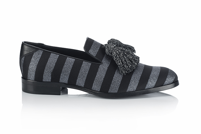 For an even more classic look, try these Jimmy Choo tassel loafers with dandy stripes and tassels
