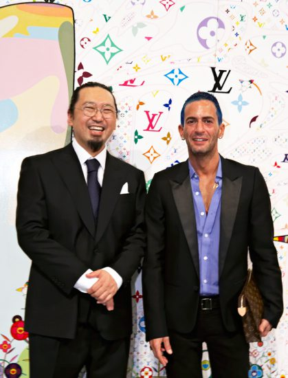 Marc Jacobs with Murakami at the launch of the Cherry World