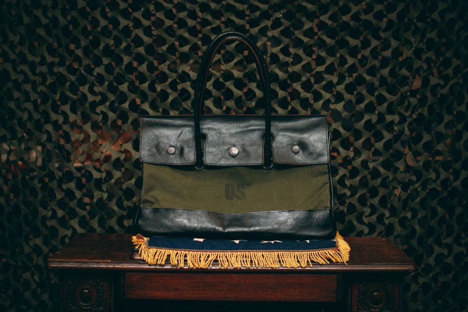 Mr. Sabotage's own 'Charlie 101' cargo tote adapted from a vintage postal and a Birkin bag.