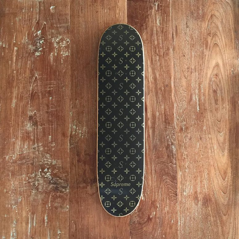 Louis Vuitton sued Supreme to stop production and sale of the LV skateboard deck. It is noteworthy that instead of the brown colour palette, Louis Vuitton has now adopted Supreme's red colourway instead. Also, an original 2000 Supreme LV deck just sold on eBay for $10,000. Beat that with a stick.