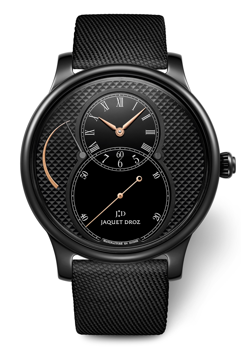"Jaquet Droz Grande Seconde Power Reserve Ceramic with black ""Clous de Paris"" decorated dial, subdial in black ceramic. 18kt red gold hands."