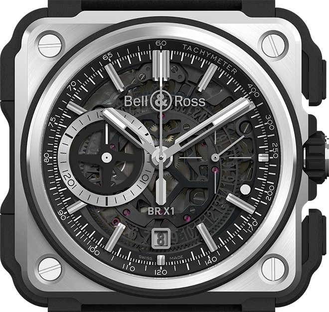 Bell & Ross BR X1 Black Titanium Chronograph with hours, minutes, small seconds at 3 o'clock. Skeleton date at 6 o'clock. Chronograph: 30-min timer at 9 o'clock, central chronograph seconds.