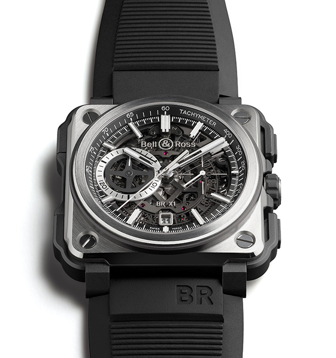 The Bell & Ross skeleton chronograph is equipped with a calibre BR-CAL.313. Automatic mechanical. 'X'-shaped upper bridge. 56 jewels, 28,800 vph.