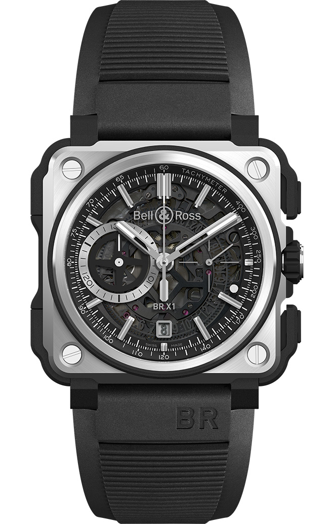 Bell & Ross BR X1 Black Titanium Chronograph is 45 mm in diameter with titanium and ceramic with rubber inserts. Rocker push-buttons. Back with opening in tinted sapphire crystal, centred on the balance.