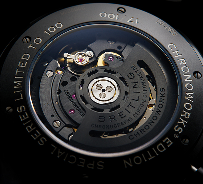 "Typically found on watch dials, the COSC chronometer label sometimes appears in other places, as seen here. Breitling has put it on the rotor of the Superocean Heritage Chronoworks where it reads ""Chronographe Certife Chronometre"""