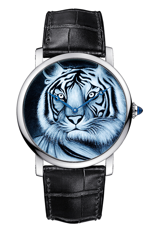 This Rotonde de Cartier watch's tiger motif uses grisaille enamel, an extremely challenging technique that's capable of creating highly nuanced details